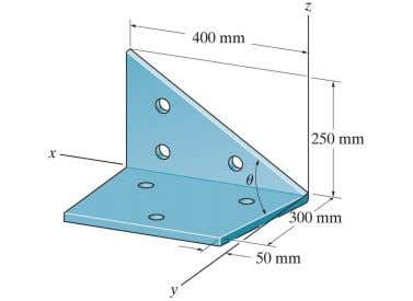 Textbook Problem 2-127 Determine the angle the sheet-metal bracket. between the edges of Answer: 82.0 °