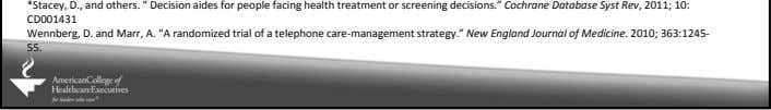 "*Stacey, D., and others. "" Decision aides for people facing health treatment or screening decisions."""