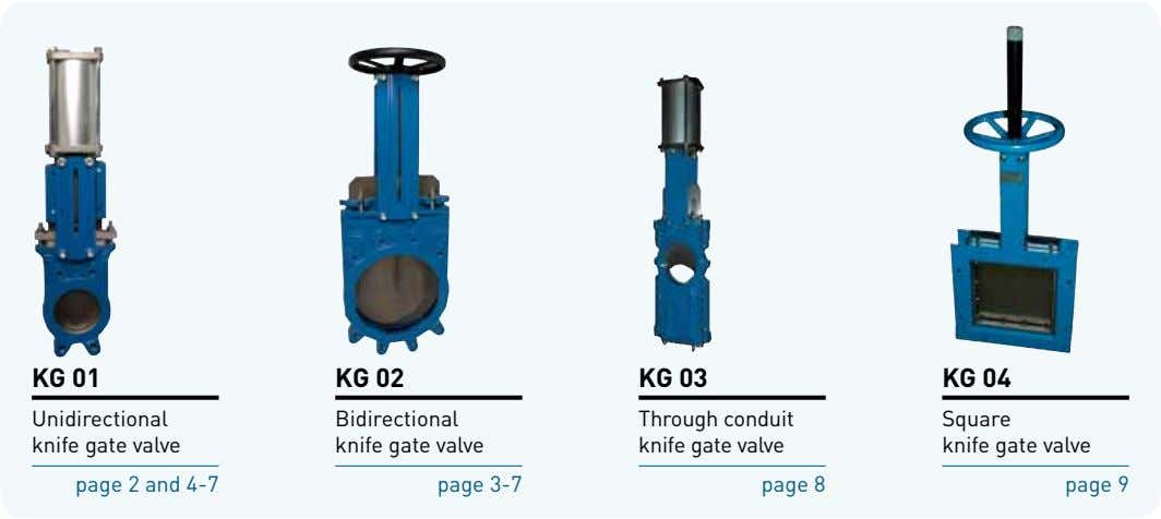 KG 01 KG 02 KG 03 KG 04 Unidirectional knife gate valve Bidirectional knife gate