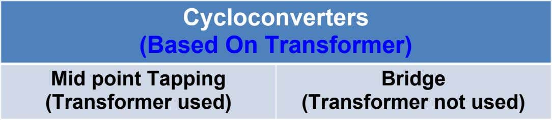 Cycloconverters (Based On Transformer) Mid point Tapping (Transformer used) Bridge (Transformer not used)
