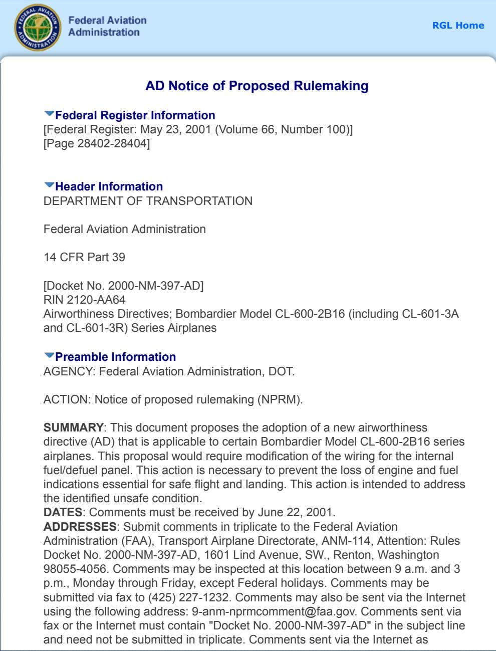 RGL Home AD Notice of Proposed Rulemaking Federal Register Information [Federal Register: May 23, 2001