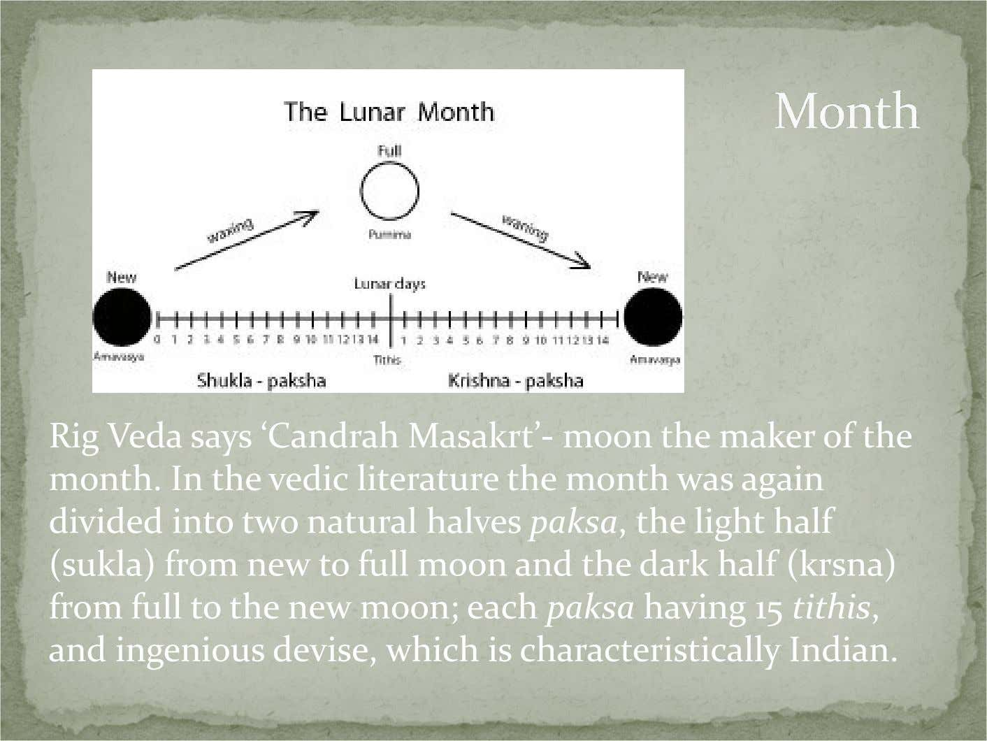 Rig Veda says 'Candrah Masakrt'- moon the maker of the month. In the vedic literature