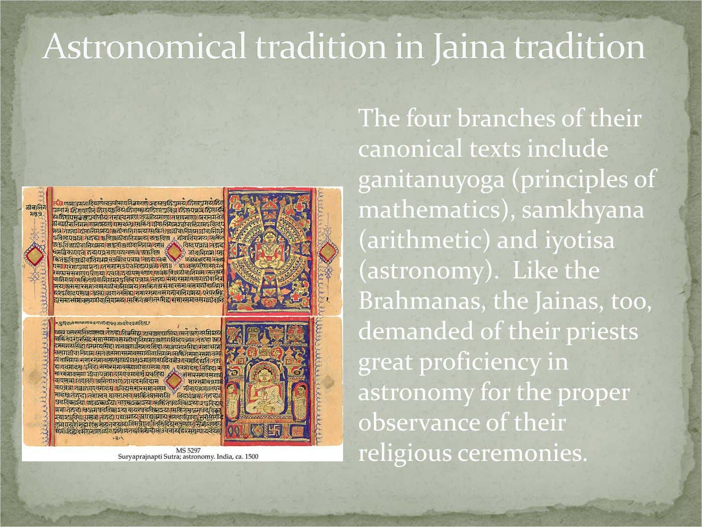 The four branches of their canonical texts include ganitanuyoga (principles of mathematics), samkhyana (arithmetic)