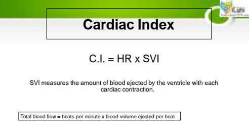 Cardiac Index C.I. = HR x SVI SVI measures the amount of blood ejected by