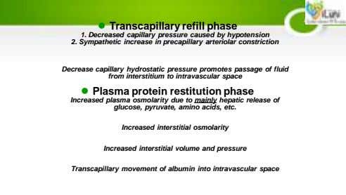  Transcapillary refill phase 1. Decreased capillary pressure caused by hypotension 2. Sympathetic increase in