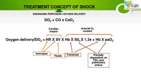 TREATMENT CONCEPT OF SHOCK ENHANCING PERFUSION / OXYGEN DELIVERY DO 2 = CO x CaO