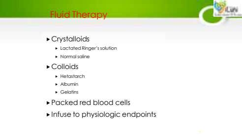 Fluid Therapy Crystalloids  Lactated Ringer's solution  Normal saline Colloids  Hetastarch 