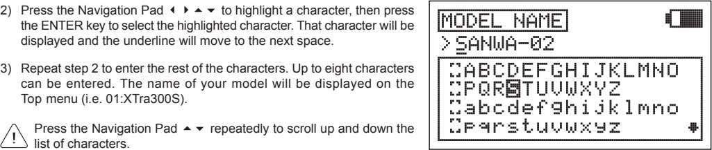 2) Press the Navigation Pad 3456 to highlight a character, then press the ENTER key