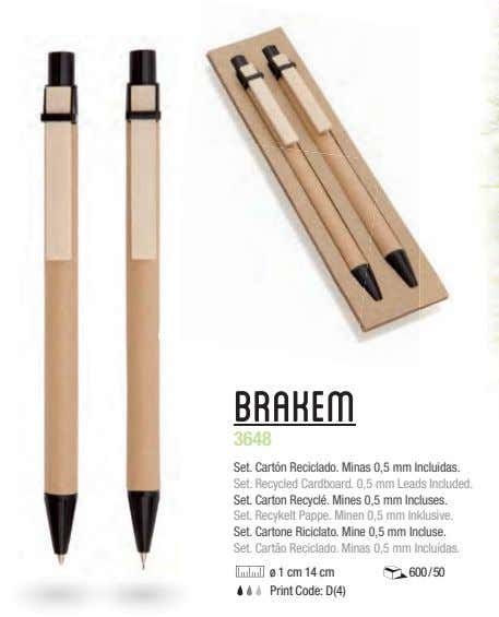 Brakem 3648 Set. Cartón Reciclado. Minas 0,5 mm Incluidas. Set. Recycled Cardboard. 0,5 mm Leads
