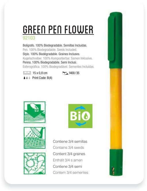 Green Pen Flower 92103 Bolígrafo. 100% Biodegradable. Semillas Incluidas. Pen. 100% Biodegradable. Seeds Included.