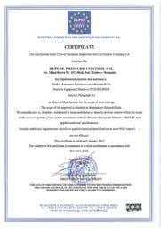 a number of certifications by international certifying organizations: ISO 9001, ISO 14001, OHSAS 18001 and API