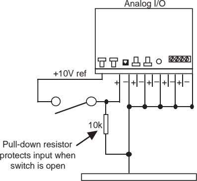 Analog I/O +10V ref + ––––– ++++ 10k Pull-down resistor protects input when switch is