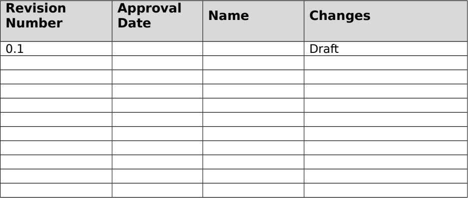 Revision Approval Name Changes Number Date 0.1 Draft