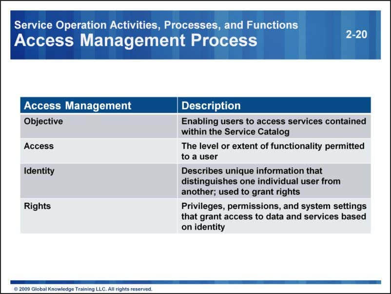 Access Management provides the rights for Users to access Services, executing policies defined in Availability