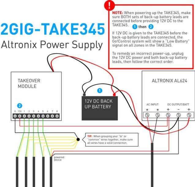 Using Existing System Wiring Using the Altronix Power Supply ©2013 2GIG by Linear Corporation. All Rights