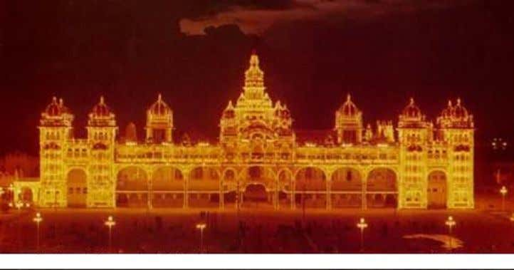 Mysore Palace Illuminated by 97,000 light bulbs