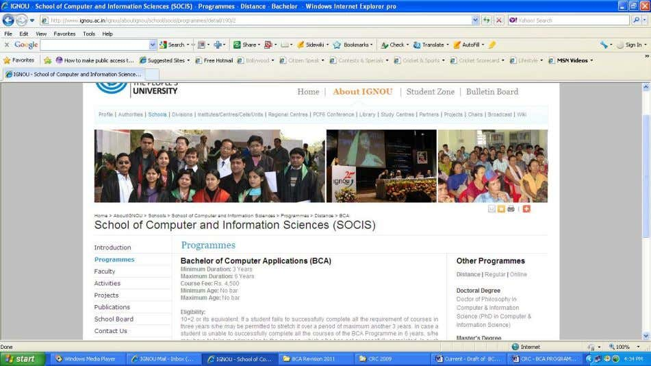 in the Figure 4. The page BCA page of School of Computer and Information Sciences looks