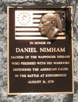 Memorial, at Veterans Memorial Park, Kent Lakes, New York, commemorating chief Daniel Nimham (1724-1778), who