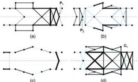 Fig. 7 Pareto-optimal multicomponent topologies of a simpli- fied automotive floor frame subject to multiple