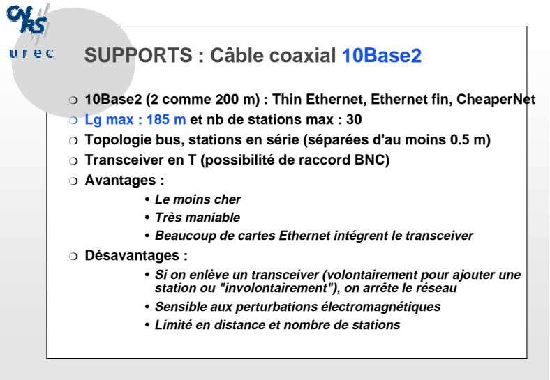 SUPPORTS : Câble coaxial 10Base2 ❍ 10Base2 (2 comme 200 m) : Thin Ethernet, Ethernet
