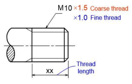 drill depth. Dimensioning in external and and thread hole - Use local note to specify: -