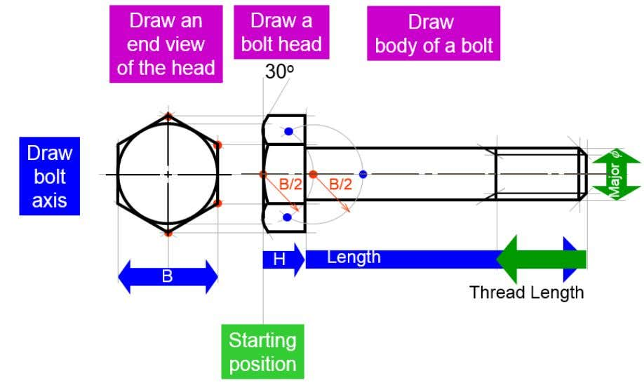 end view of the head - Draw a bolt head - Draw body of a bolt