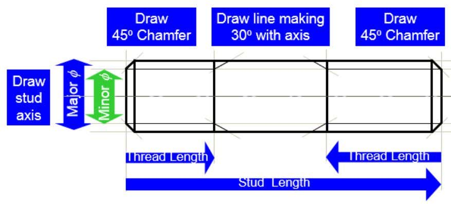 degrees chamfer and draw line making 30 degrees with axis.  Application of stud Eng. Phan