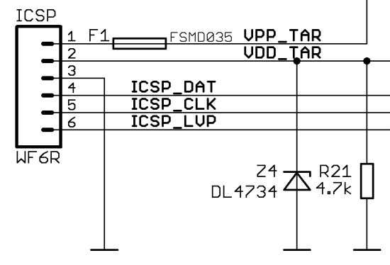 pinout of the ICSP connector (note that the cable after it might change the signals) is