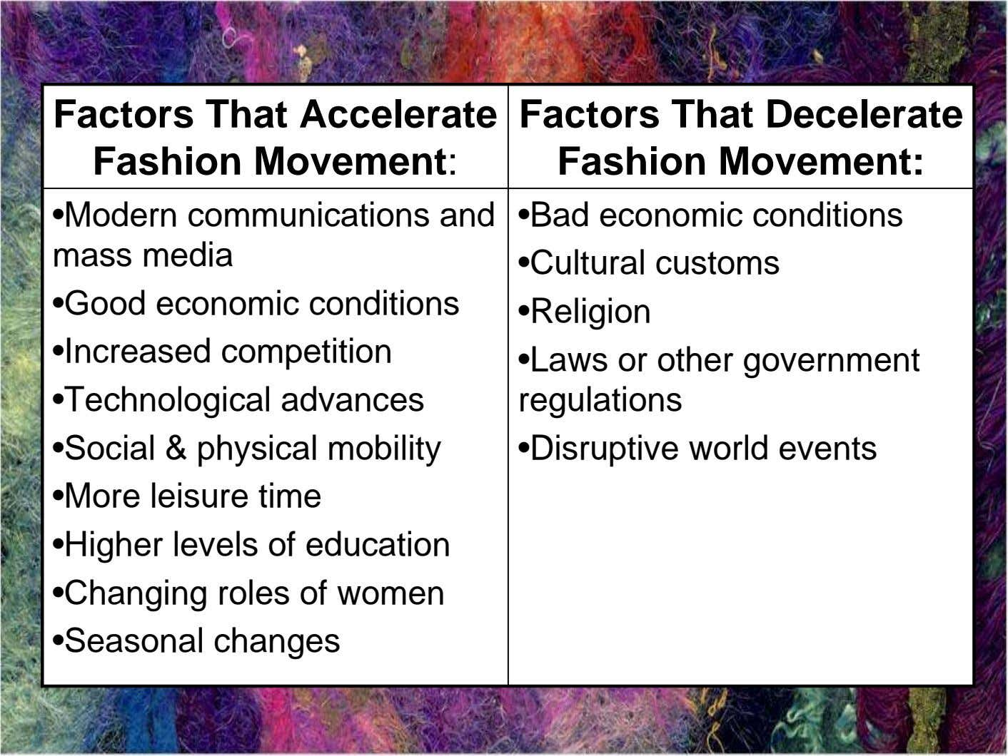 Factors That Accelerate Fashion Movement: Factors That Decelerate Fashion Movement: •Modern communications and mass