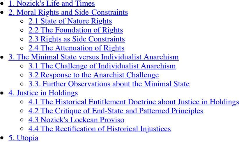 Nozick's Life and Times 1. 2. Moral Rights and Side-Constraints 2.1 State of Nature Rights