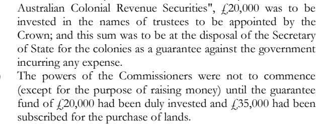 until the guarantee fund of £20,000 had been duly invested and £35,000 had been subscribed for