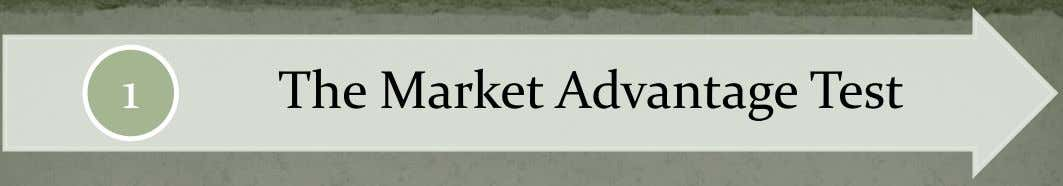 1 The Market Advantage Test