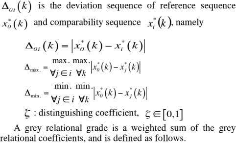 ( k ) is the deviation sequence of reference sequence 0i * * ( )