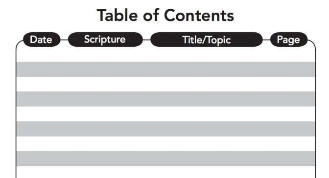 Sample Table of Contents 4. When you are ready to use your journal you will want