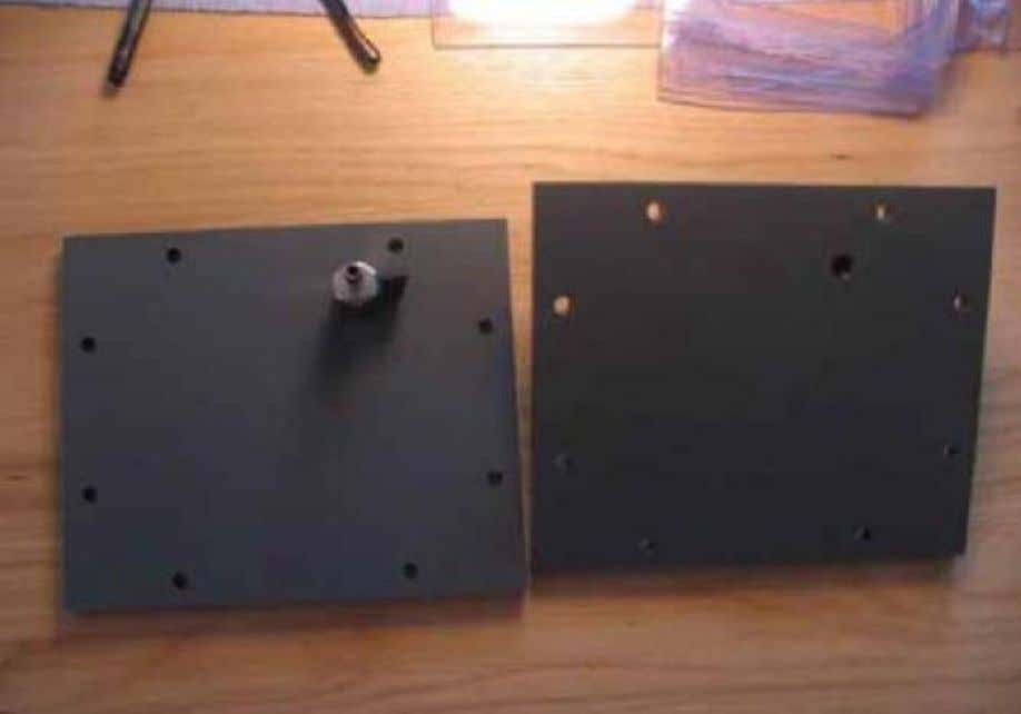 Figure 4. PVC end plates with gas valves attached The first stainless steel plate and