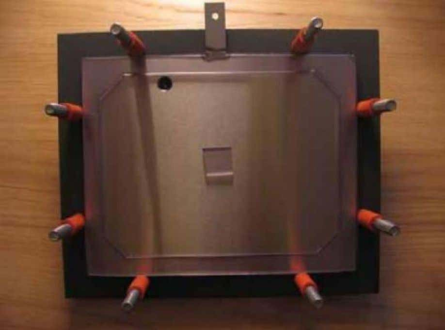 Figure 5. First SS plate in place with the PVC spacer shown A side view