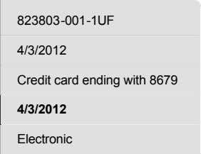 Shipping Method Electronic Order ID Invoice Date Payment terms Due Date 823803-001-1UF 4/3/2012 Credit card