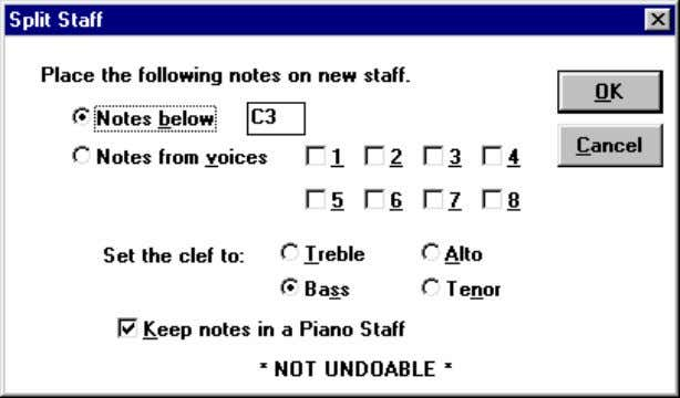 pentagrama de tipo piano ( Keep notes in a Piano Staff ). ser cuidadoso cuando se