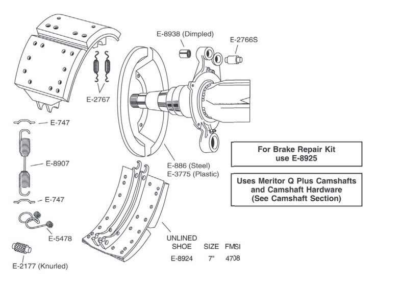 "TOP SPEC ""ES"" RETROFIT FOR MERITOR 16 1/2"" DIAMETER ""Q"" BRAKES 1-20 U.S. 888-725-9355 Canada 800-387-3889"