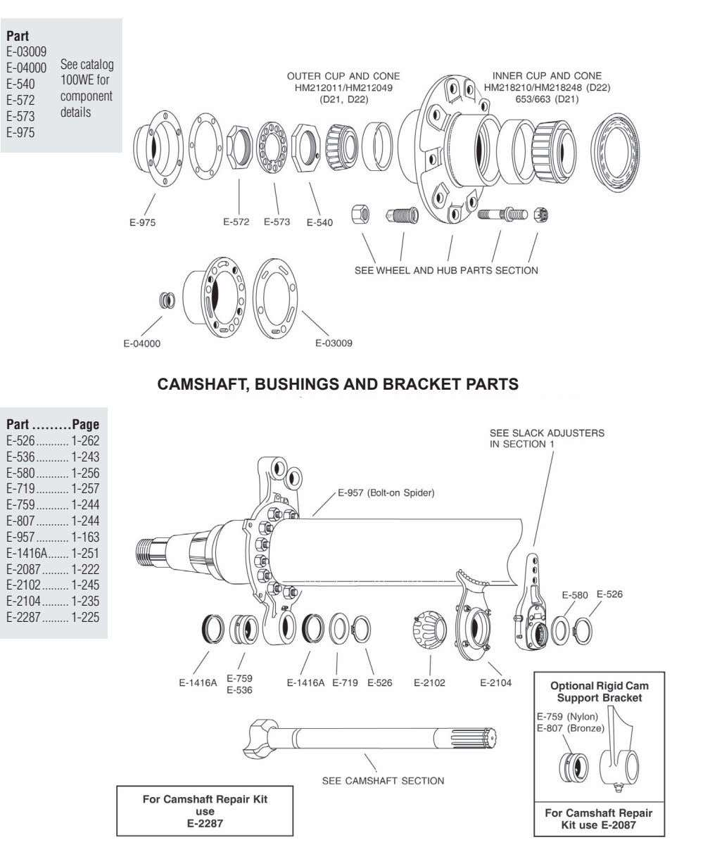 Part E-03009 See catalog E-04000 100WE for E-540 component E-572 details E-573 E-975 CAMSHAFT, BUSHINGS