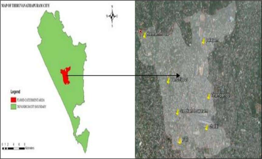 Seven wards are selected surrounding the catchment. Fig. 1: Base map Thiruvanathpuram city with flood area