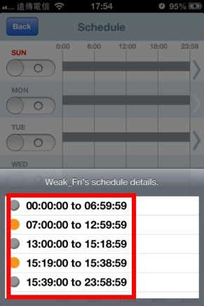 as shown in the left picture, to show the detail schedule settings which have been set