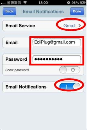 "your Gmail email address and password. When finished, slide "" Email Notifications"" on to enable notifications."