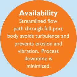 Availability Streamlined flow path through full-port body avoids turbulence and prevents erosion and vibration.