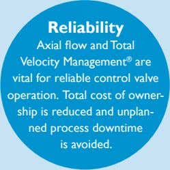 Reliability Axial flow and Total Velocity Management ® are vital for reliable control valve operation.