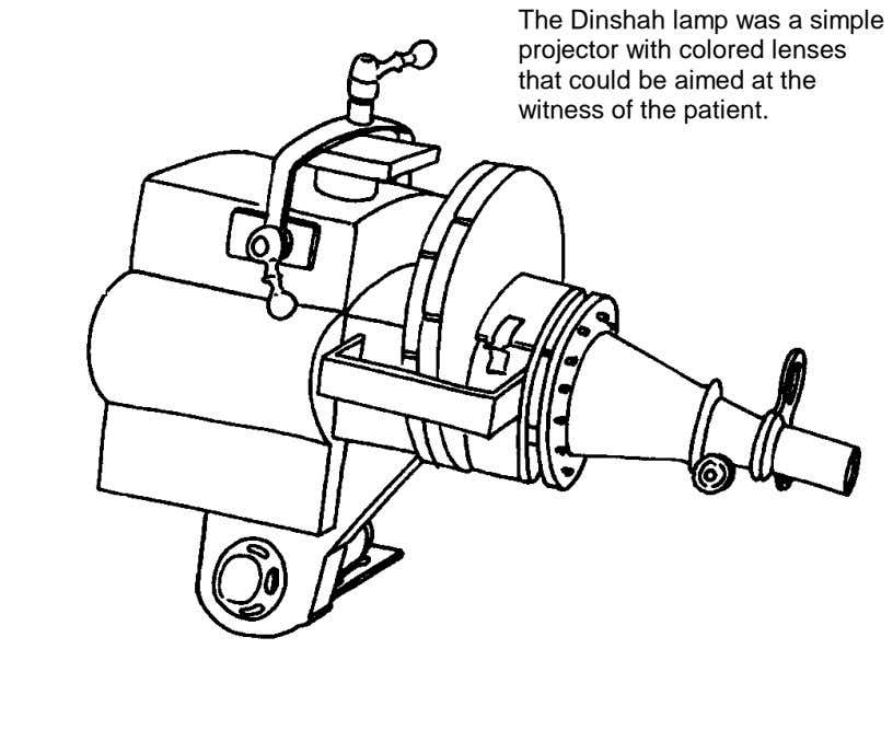 The Dinshah lamp was a simple projector with colored lenses that could be aimed at