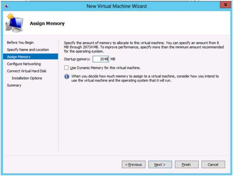 Maintenance Guide Alteon VA Installation and Configuration 7. Assign the startup memory to 2048 MB (minimum)