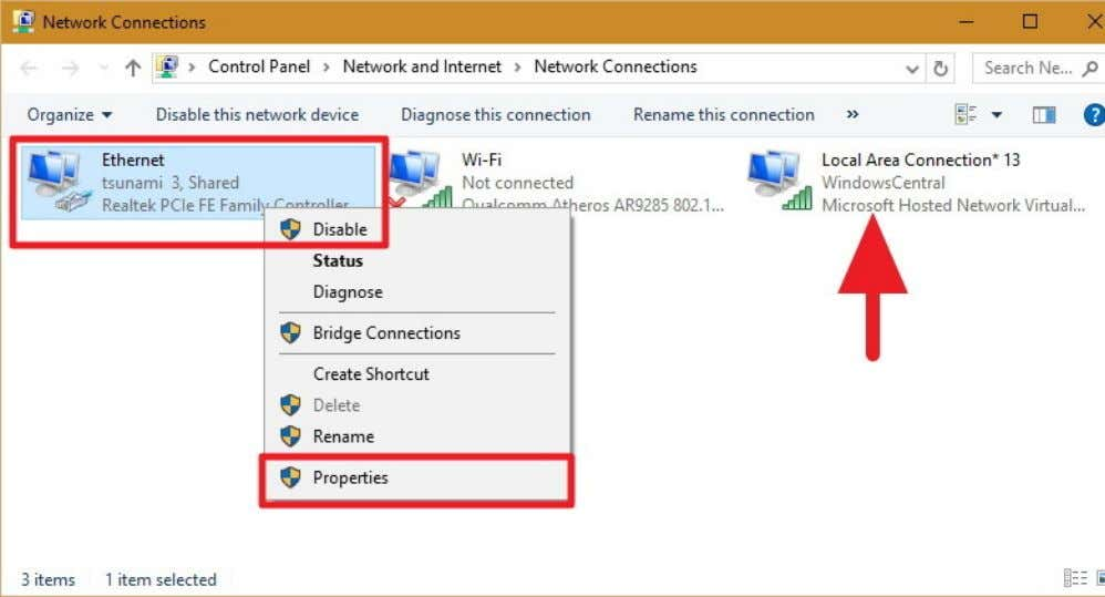 or wireless network adapter — select Properties . Note: In Network Connections, you should now see