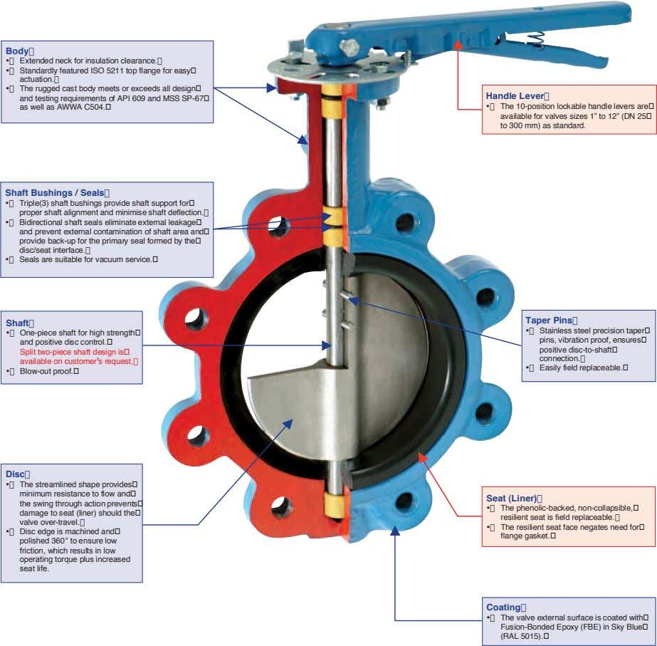 Body� •� Extended neck for insulation clearance.� •� Standardly featured ISO 5211 top flange for