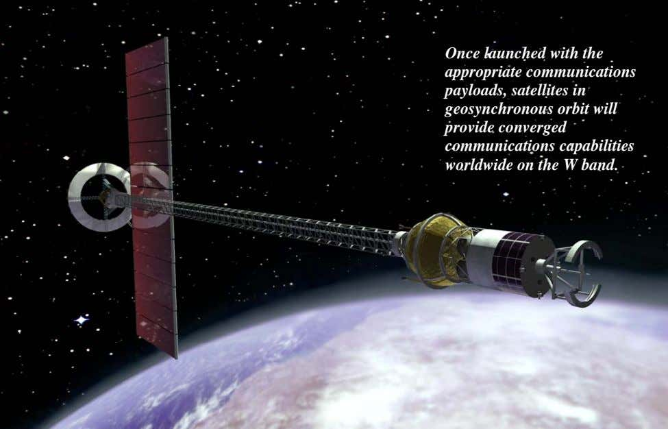Once launched with the appropriate communications payloads, satellites in geosynchronous orbit will provide converged